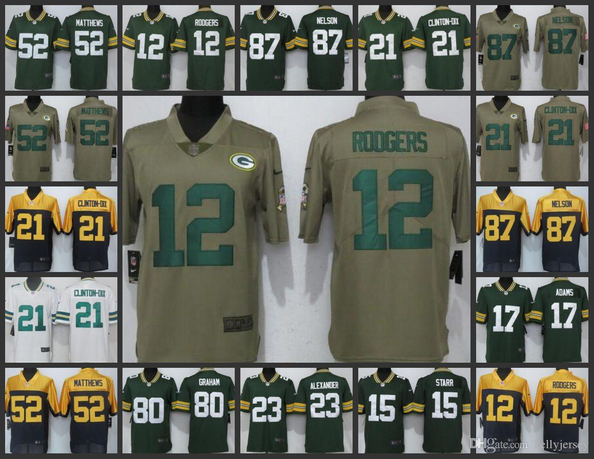 online store 19996 60b8d Green Bay Men Packers Playey Jersey #12 Aaron Rodgers 21Ha Ha Clinton-Dix  17 Davante Adams Women Youth Limited Jerseys