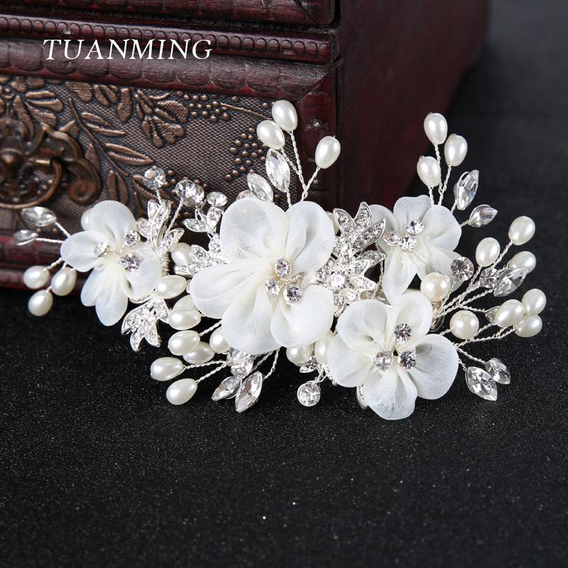e4da18b1c 2019 Ridal Hairpins Silver White Flower Women Hair Jewelry Pearl Rhinestone  Combs Barrettes Bridal Hairpins Wedding Bride Hair Accessories.