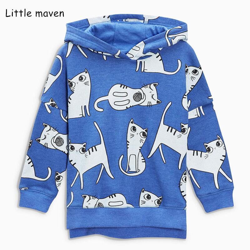 6d8de95f3261c 2019 Little Maven 2018 Autumn Winter Children'S Wear Girls Brand Clothes  Hoodies & Sweatshirts Girl Cat Print Blue Fleece V0130 From Redbull12, ...