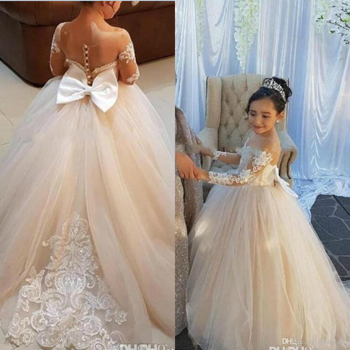 2019 Ball Gown Flower Girls Dresses Lace Appliqued Long Sleeve Pageant  Dresses For Girls Big Bow Birthday Wedding Formal Wear Ivory Colored Flower  Girl ... 8c8a07e16b95