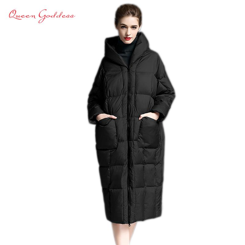 d33ed5e47 2019 Winter casual loose Cocoon Jacket Thick&Long sleeve hooded with Parkas  winter women down jacket S-7XL big pocket