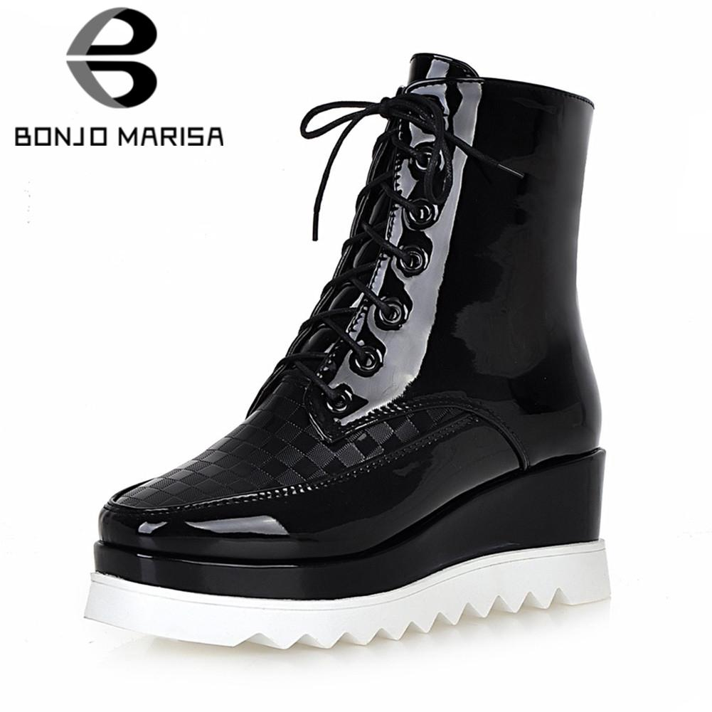 624234890e0c BONJOMARISA New Solid Lace Up Square Toe Patent Pu Wedges Platform Shoes  Woman Casual Soft Winter Spring Boots Big Size 34 43 Over Knee Boots Boots  For ...