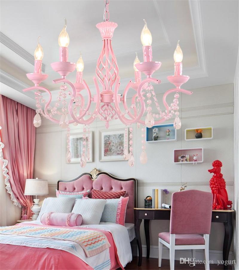 European pastoral style pink iron crystal pendant chandelier children room  lamp warm romantic bedroom chandeliers lamp fixture