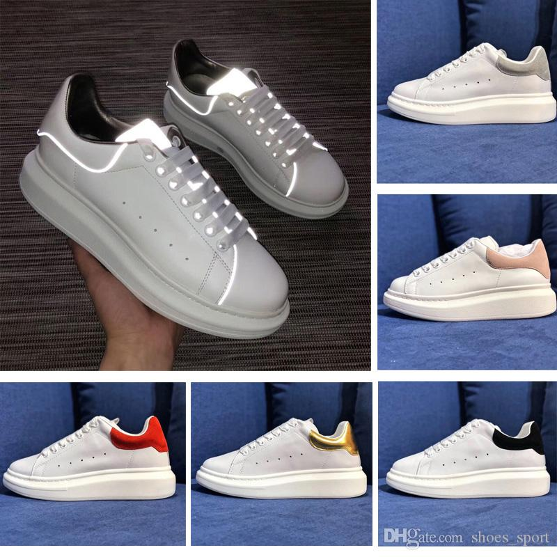 Designer Brand Fashion Reflective White Leather Casual Shoes Girls Womens Mens Black -9206