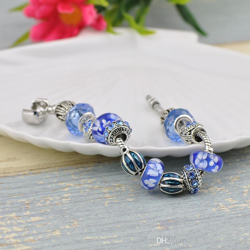 Vintage Diamond Charm Bracelets Fit Pandora Blue Murano Glass Crystal Beads Silver Women Luxury Snake Chain Jewelry Birthday Gift P57