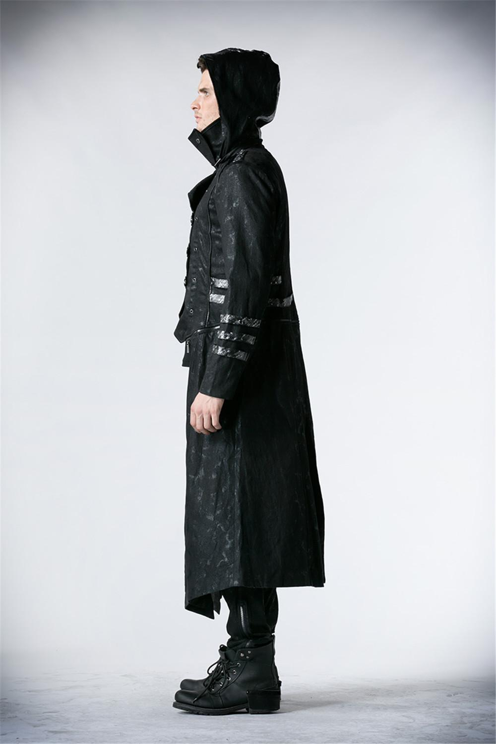 Steampunk Men Trench Coats Black Strentch Coats With Leather Gothic Hooded Detachable Long Coats