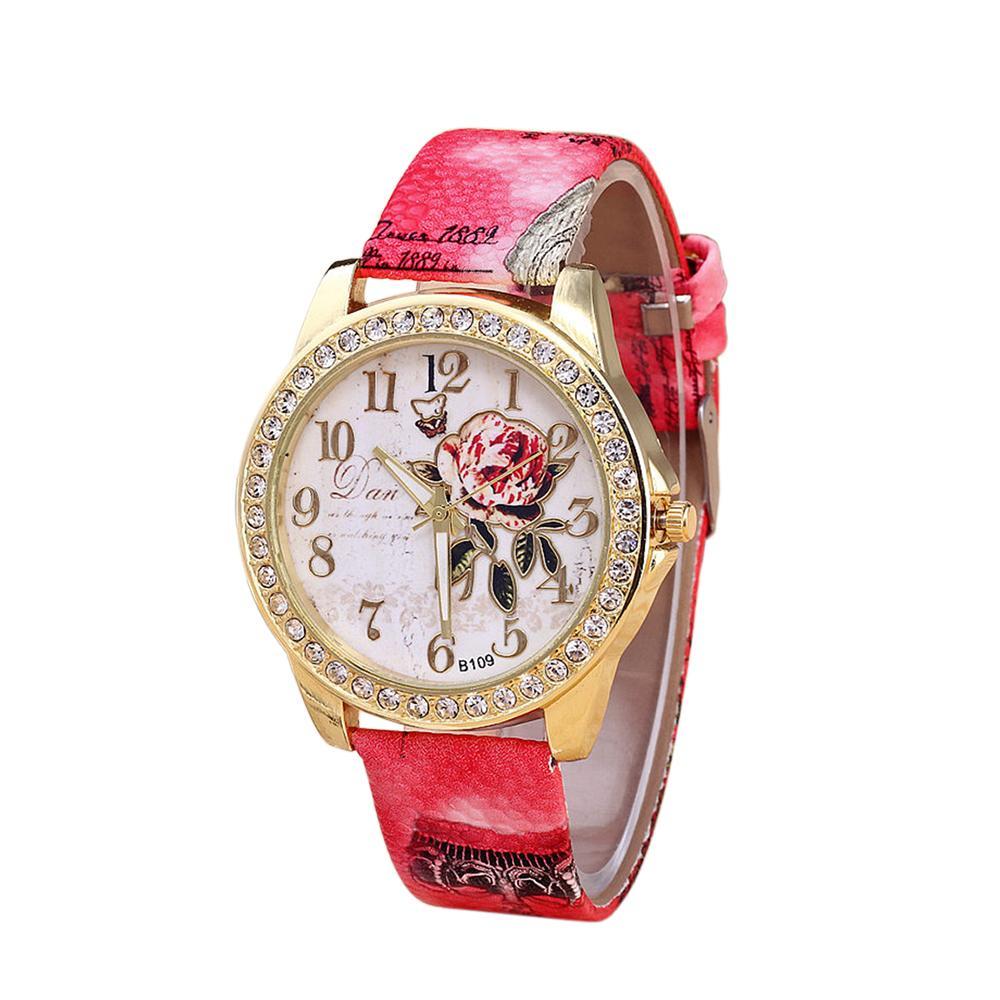 e49d73ef22d Compre Mulheres Clássico Liga De Pulso Relógio De Moda Requintado Floral  Rosa Padrão Pulseira De Couro Relógio De Quartzo De Byuild