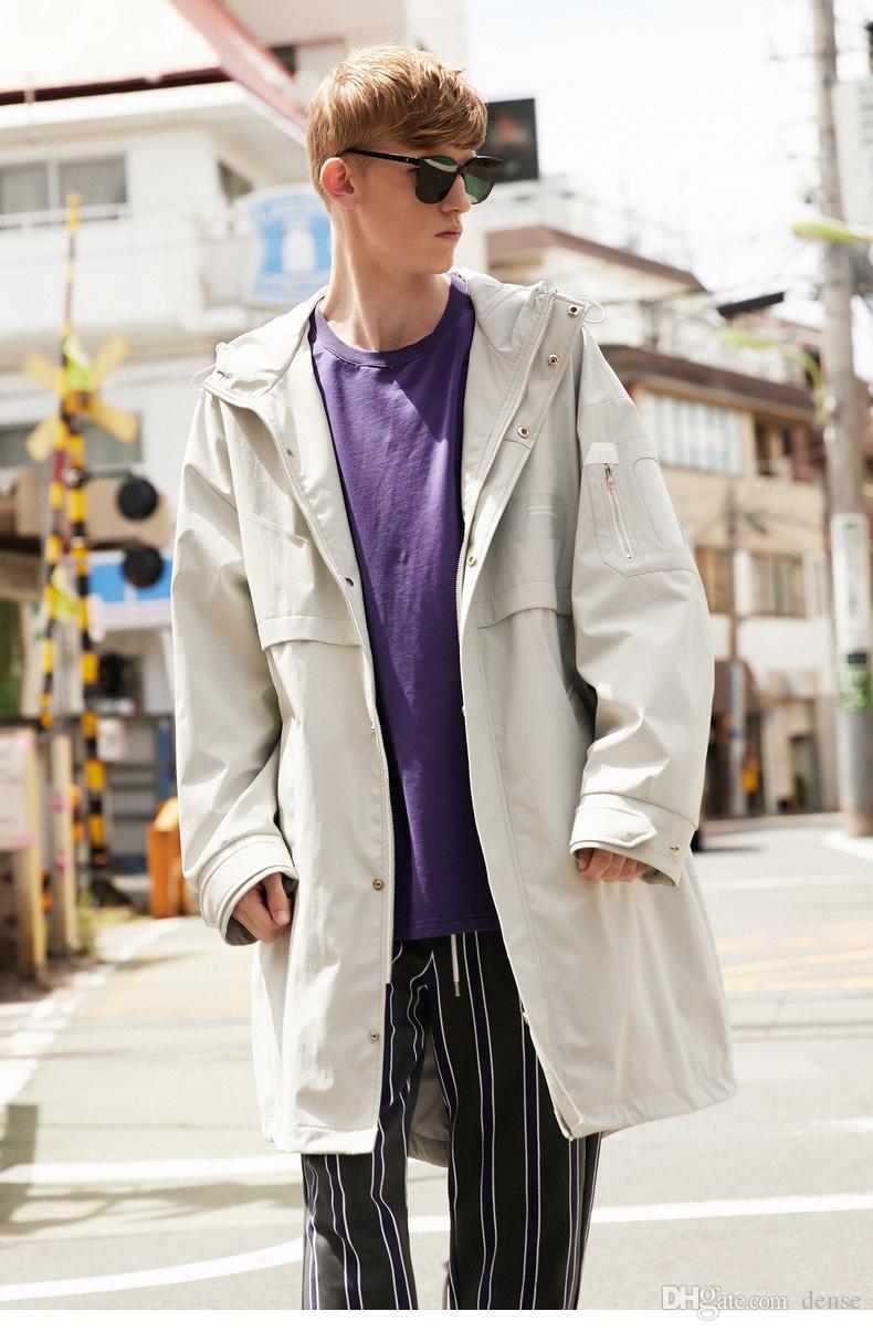 Compre Chaqueta Larga Con Cazadora Cortavientos Para Hombre Moda De Ocio  Estudiante Abrigo De Otoño Abrigo De Hombre Tendencia A  304.57 Del Dense  276889951c09