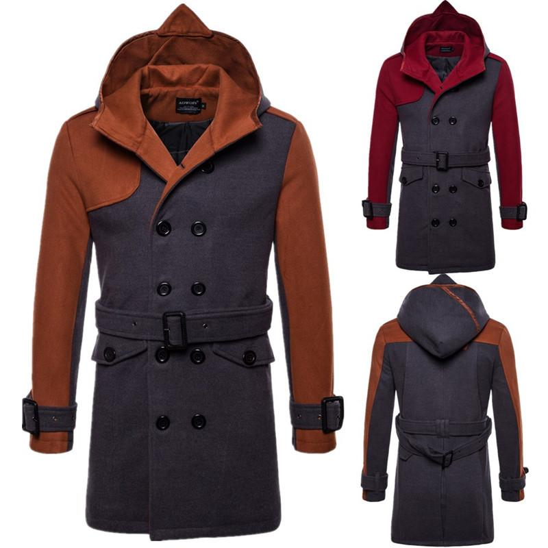 2019 Autumn Winter England Men's Thicken New Fashion Jackets Men Lapel Double-breasted Hooded Woolen Coat for Male