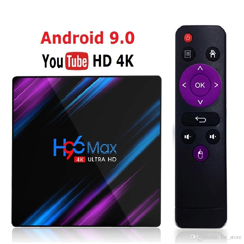 Recém-H96 MAX RK3318 Smart TV Box Android 9.0 4GB 32GB 64GB Assistente Media player 4K Google Voice Netflix Youtube H96MAX 2GB16GB (Varejo)