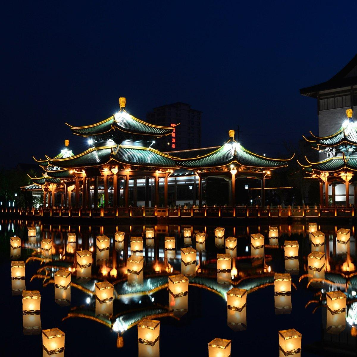 Paper Lanterns Water Floating Light Square Chinese Blessing Festival  Lanterns Floating Wishing Light Water Candle Light