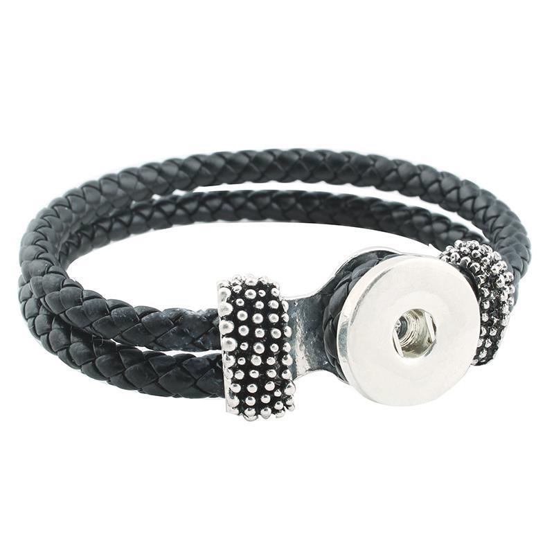 Venta caliente Snap Bracelet Moda DIY Encantos Negro Cuero de LA PU BraceletBangles Fit 18mm Botones Snap Joyería de Plata Para Las Mujeres ZE060