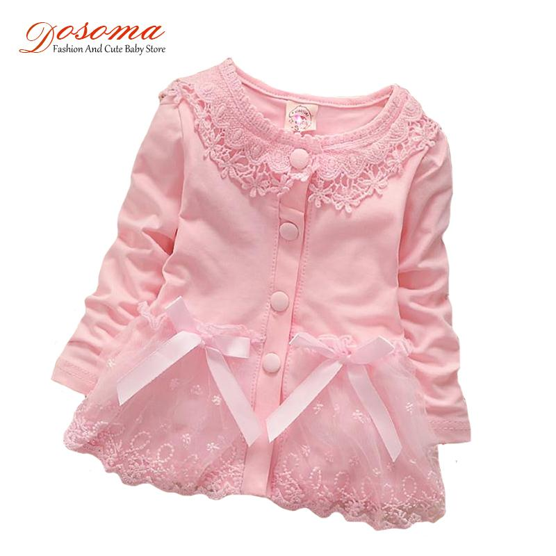 2018 New Born Autumn Baby Girl Dress Cotton 0-24 Months Fashion Korean Girls Candy-colored Cardigan Flower Lace Dress For Girls Y19061001