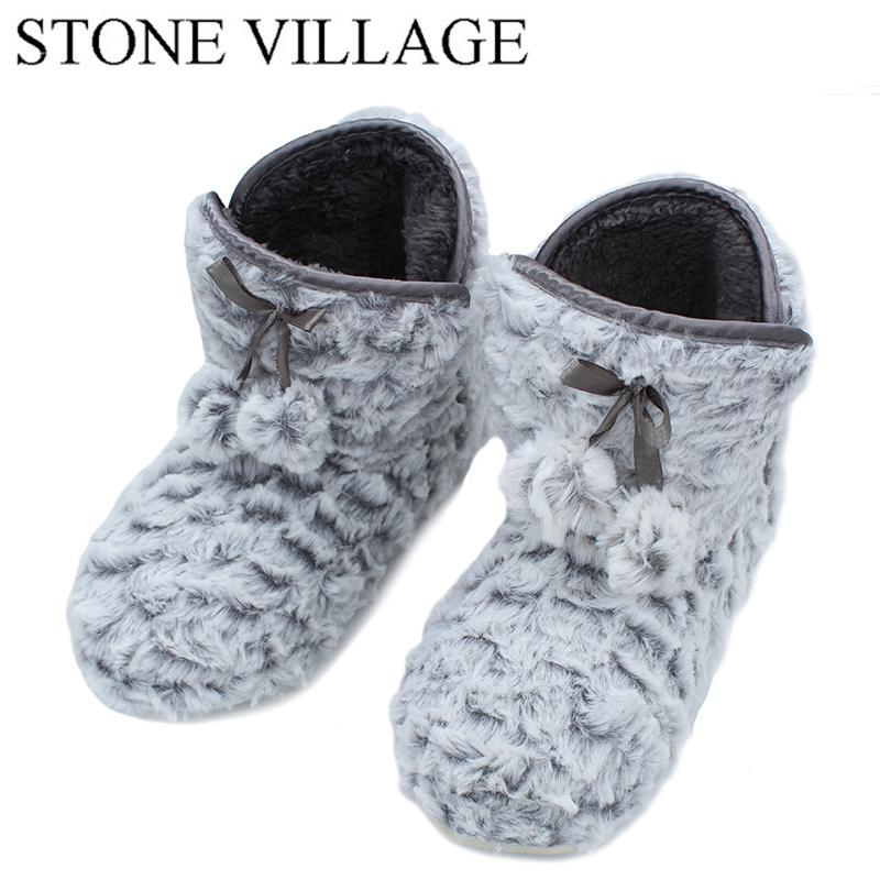 b0bcc4655d1 STONE VILLAGE New Arrival 2018 Autumn And Winter Roses Women Slippers Shoes  Pure Color Home Slippers Lovely Indoor Shoes Woman Rubber Boots Womens  Slippers ...