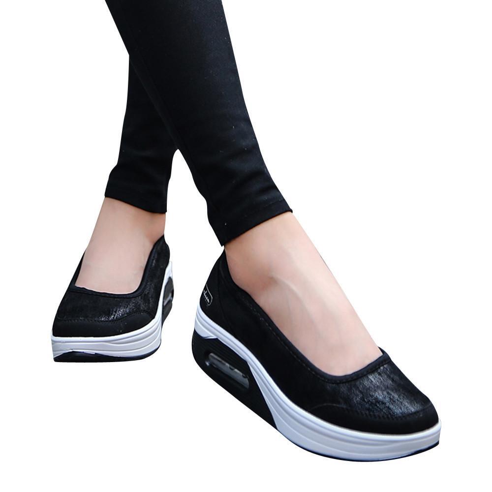 dcf02d7b Compre Vestido Cagace 2019 Mujeres Nuevos Zapatos Casuales Lady Slip On  Fitness Shake Transpirable Zapatos Niñas Cojín De Aire Zapatillas De  Deporte De ...