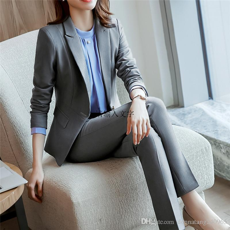 1f4144b068a7 2019 Professional Set Women Pant Suits 2019 Spring Autumn Temperament  Fashion Office Lady Long Sleeve Blazer With Pants Plus Size Work Wear From  Dujotree