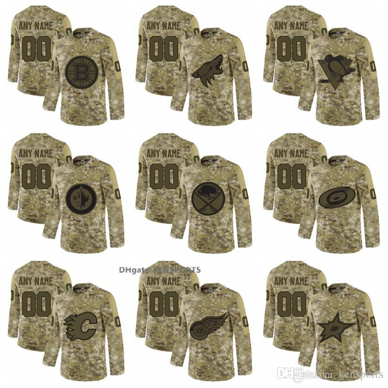 buy popular 57ad8 b6a2c 2019 Men's Boston Bruins Arizona Coyotes Toronto Maple Leafs Buffalo Sabres  Calgary Flames Camo Salute to Service Admiral Stitched Jerseys