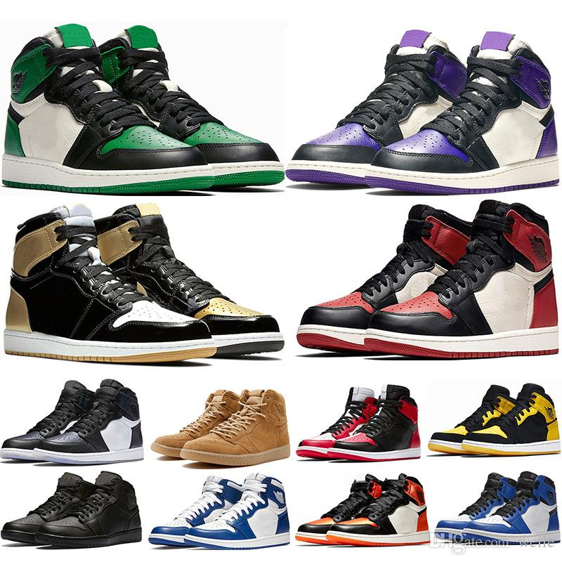 7a3c8f398939 2019 Court Purple Pine Green Mid OG 1 Top 3 Men Women Basketball Shoes 1s  Banned Bred Chicago Royal Blue Shattered Backboard Sports Sneakers From  Weile