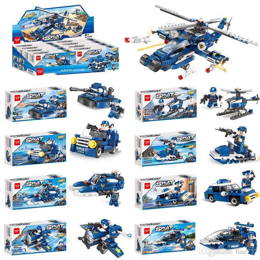8 in 1 assembled building blocks police car helicopter children's puzzle DIY building blocks toys kids gifts