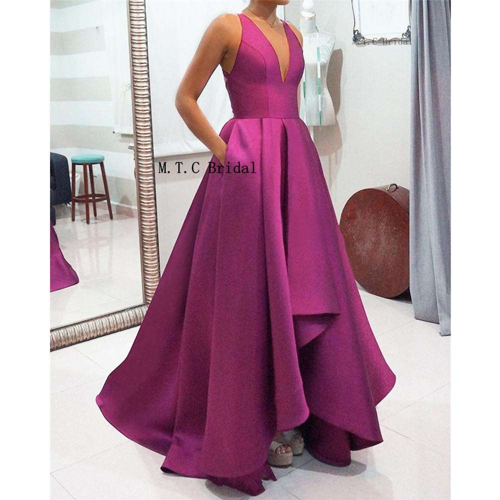 Purple Prom Dresses V Neck A Line Floor Length Pockets High Quality Satin Formal Evening Gown 2019 Custom Made Women Party Dress