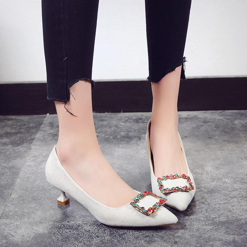 e7d38f514 Designer Dress Shoes Women High Heel Girl Small Fresh Cat Female 2019 New  Wild Korean Pointed Shallow Mouth Fine Womens Sandals Orthopedic Shoes From  ...