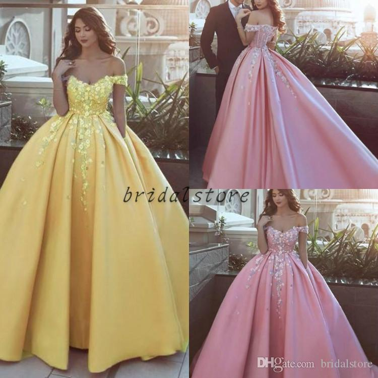 elegant long arabic off the shoulder ball gown prom dresses Yellow Pink Puffy floral flower formal party evening gowns unique Lace up 2018
