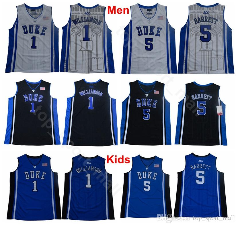 54c4a25b791 2019 Men Youth College 1 Zion Williamson Jerseys Duke Blue Devils Kids  Basketball 5 RJ Barrett Jersey Blue Black White University Man Children  From .