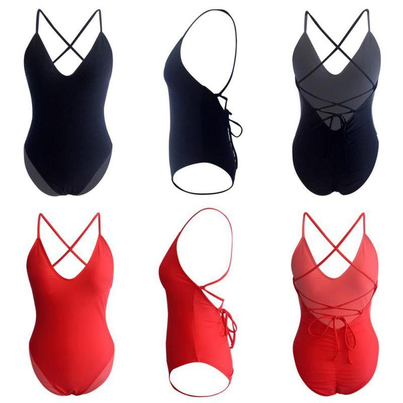 Women Swimwear Sexy High Cut One Piece Swimsuit Backless Swim Suit Thong Bathing Suit Female Monokini Black White Red
