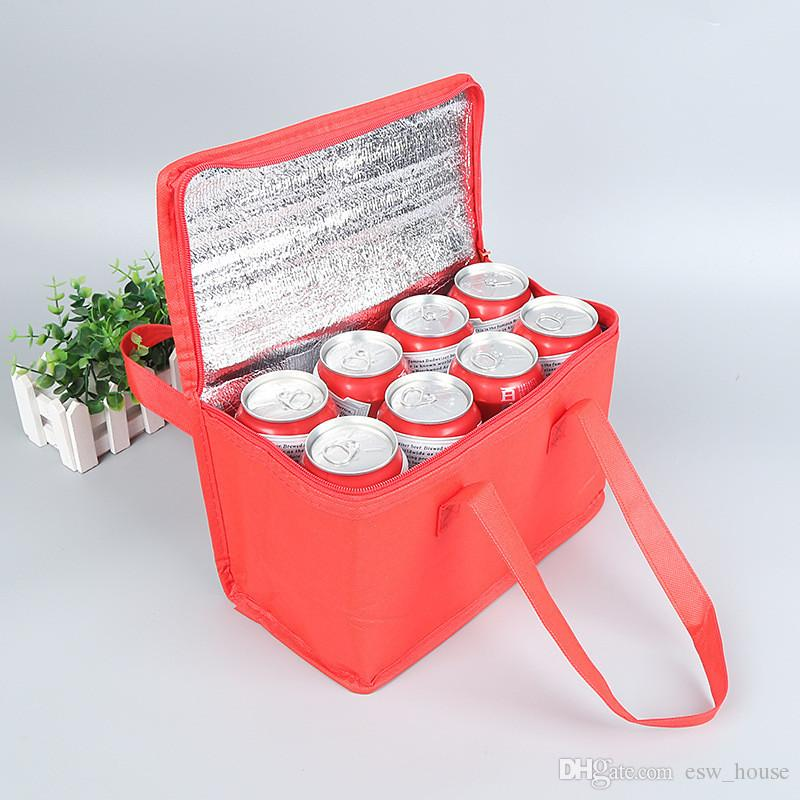 Nonwoven Can Cooler Bag Portable Ice Pack Food Packing Container Dry Ice Insulated Cooler Bags Thermal Lunch Delivery Bags