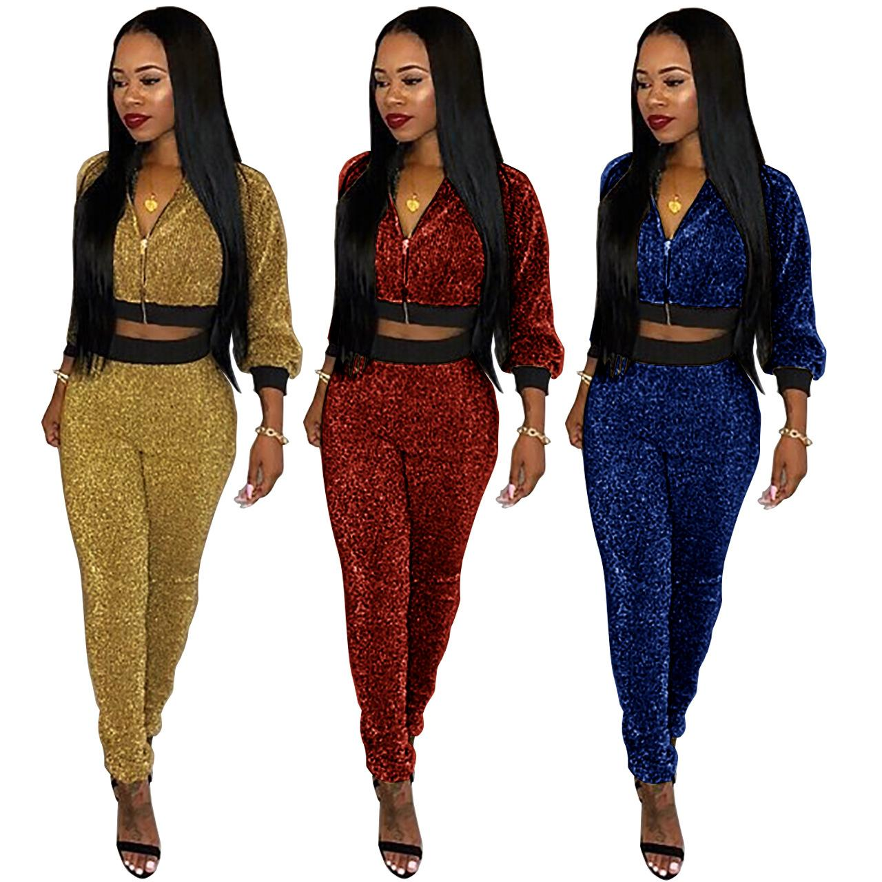 8c0eb0771f60 Women Clothes Two Piece Sets Woman Set Womens Sweat Suit Explosions Autumn  And Winter Gold Wire Set Garneti Quality is Awesome Women Clothes Two Piece  Sets ...