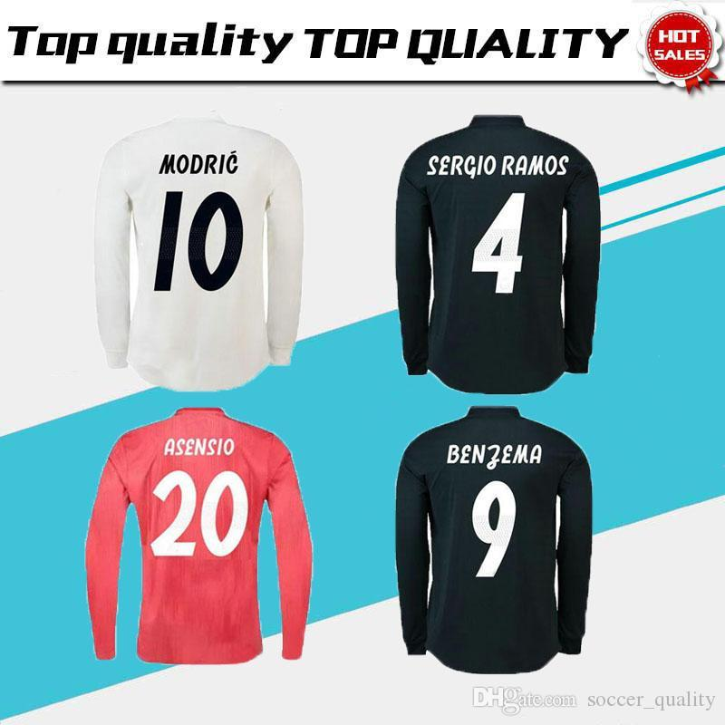 c24e08d2 2019 18/19 Real Madrid Fans Version Long Sleeve Champions League Soccer  Jersey 2019 Home RAMOS KROOS ISCO ASENSIO MODRIC MARCELO Football From ...