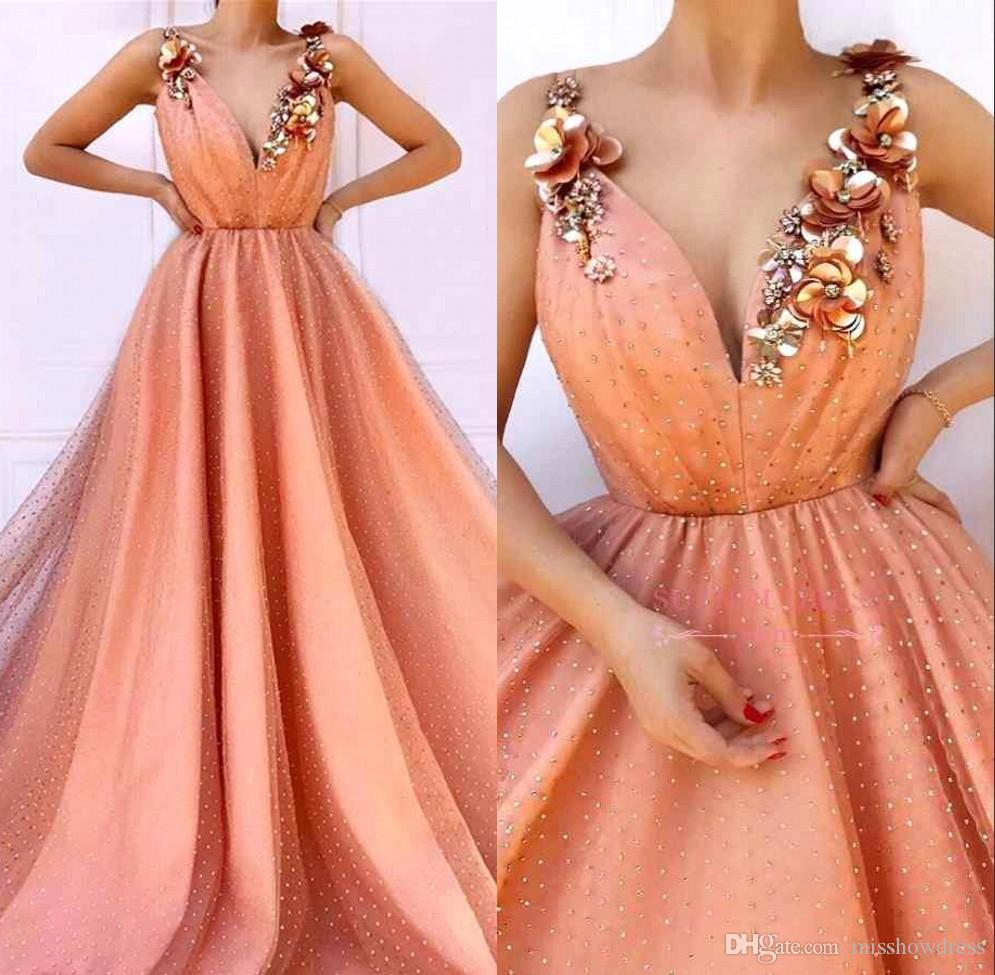 957c5852a14 2019 Peach V Neck Lace Long Prom Dresses 3D Lace Floral Beaded Applique A  Line Sweep Train Formal Party Evening Gowns BC1603 Prom Dress For Plus Size  Prom ...