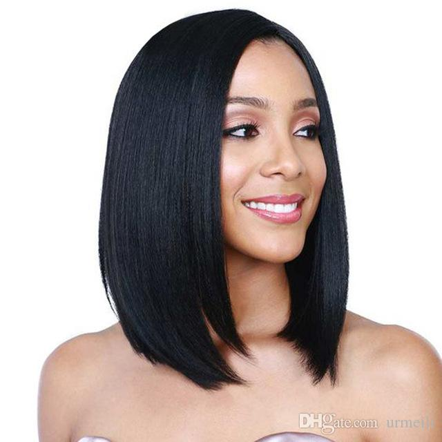 Short Glueless Lace Front Human Hair Bob Wigs For Women Brazilian Remy Hair  Straight Bob Lace Front Bob Cut Wigs Pre Plucked Curly Wigs Uk Remy Hair  For ... 12e10df56a