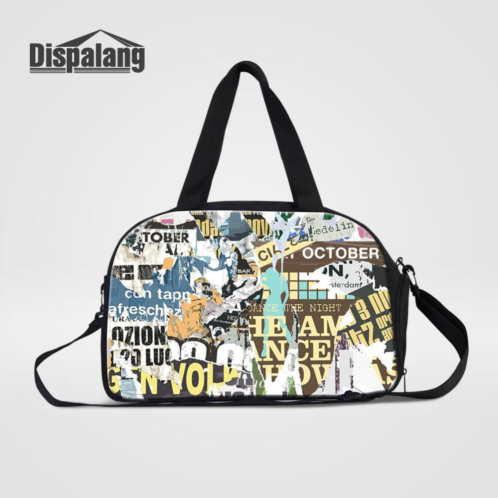 Dispalang Large Capacity Travel Bags Graffiti Poster Travel Duffel Bags Women Leisure Multifunction Handbags Shoulder Bag