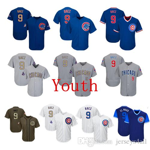 timeless design fda4e 5993f Youth Kids Child Chicago Cubs Baseball Jerseys 9 Javier Baez Jersey White  Blue Gray Grey Green Salute Players Weekend All Star