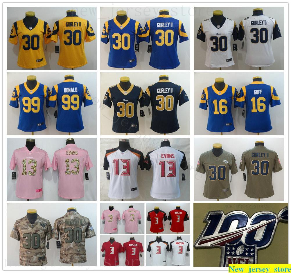 100th Women Youth Kids LosAngelesRamsFootball Jersey Stitched New 30 ToddGurley ll 16 JaredGoff 99 AaronDonald 3 JameisWinston Jerseys
