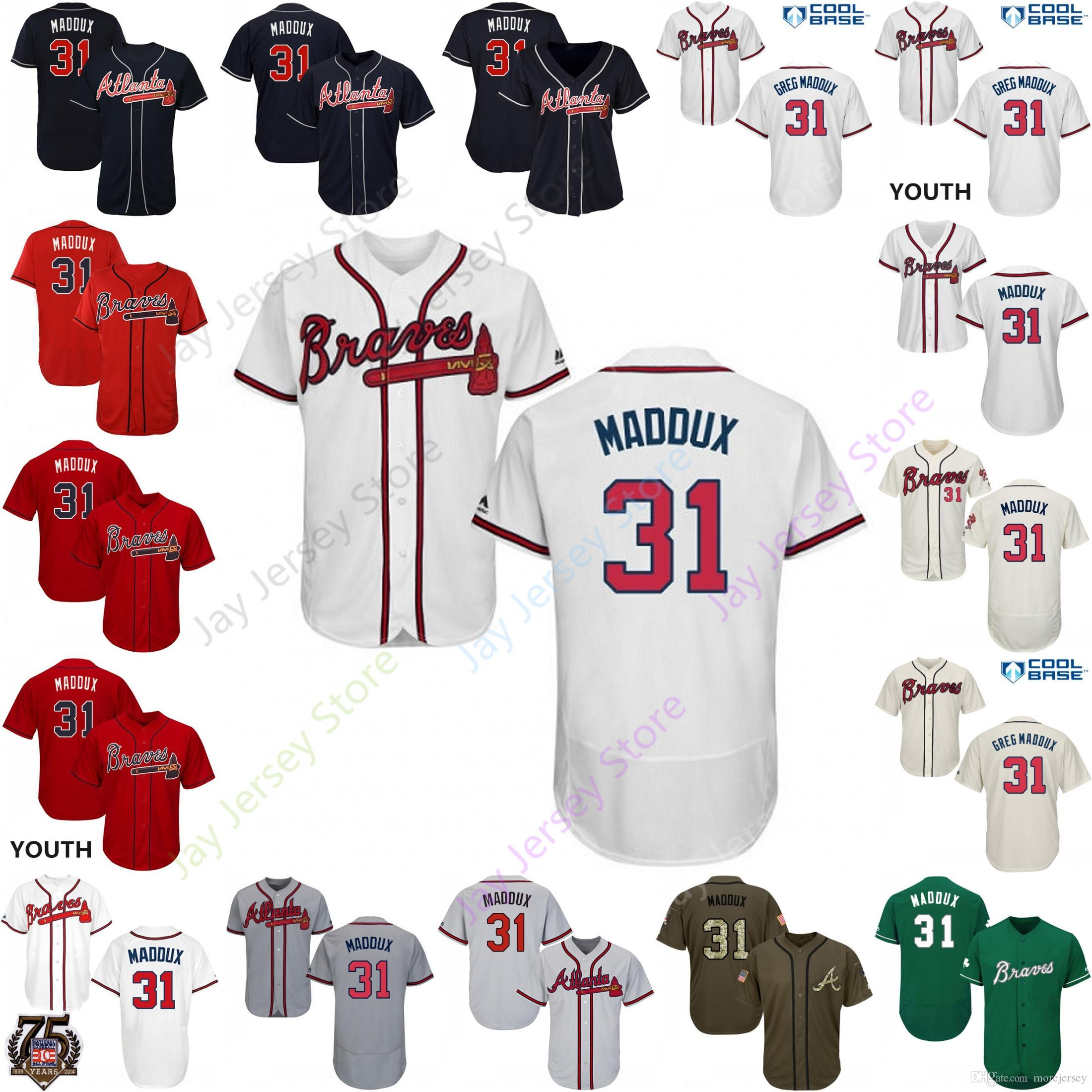 big sale 8020d 84ee1 2019 Atlanta Greg 31 Maddux Jersey Braves Jerseys Pullover Button Cool Base  Flexbase Home Away White Black Red Grey Men Women Youth Cheap
