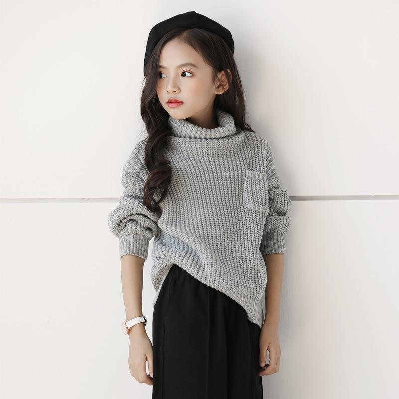 df8d23a97 2019 New Autumn Winter Teenagers Turtleneck Sweater Gray Girls Pullover  Knitted Teenager Clothes For 4~14 Age Children Sweaters Toddler Sweater  Free ...