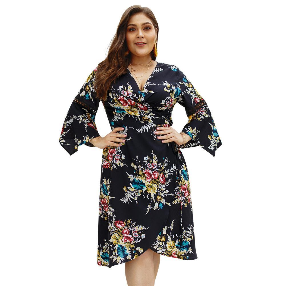 09cf2ca487bc8 Plus Size Ginger Wrap Tie Side Floral Print Boho Dress Women 2019 ...