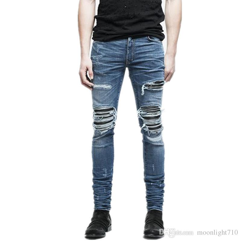 7c18f102f Compre Nuevos Pantalones De Mezclilla Para Hombre Ropa Cremallera Flaco  Biker Jeans Hombres Slim Fit Justin Bieber Jean Vintage Ripped Blue Denim  Hombres ...