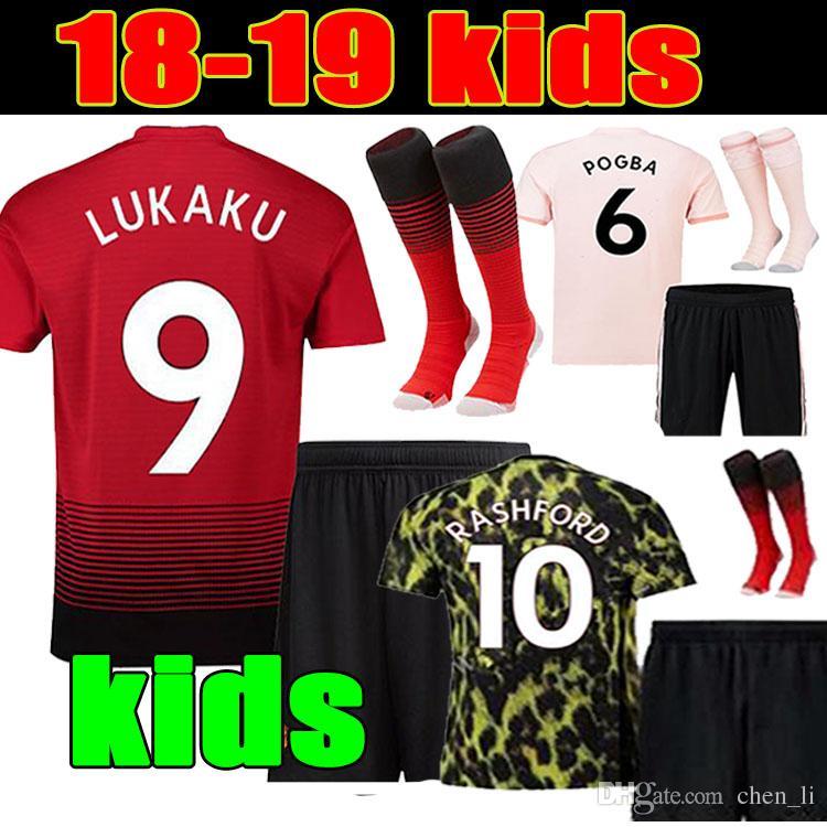 KIDS KIT 18 19 lukaku soccer jersey home third 2018 2019 manchester pogba  alexis RASHFORD LINGARD KIDS KIT away pink third Football shirt