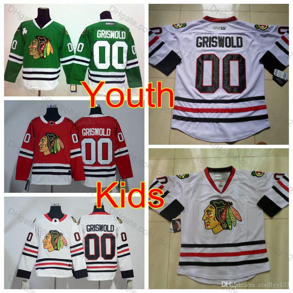 948351b1a ... wholesale 2018 youth clark griswold jersey 00 vintage kids chicago  blackhawks hockey jerseys boys white ccm