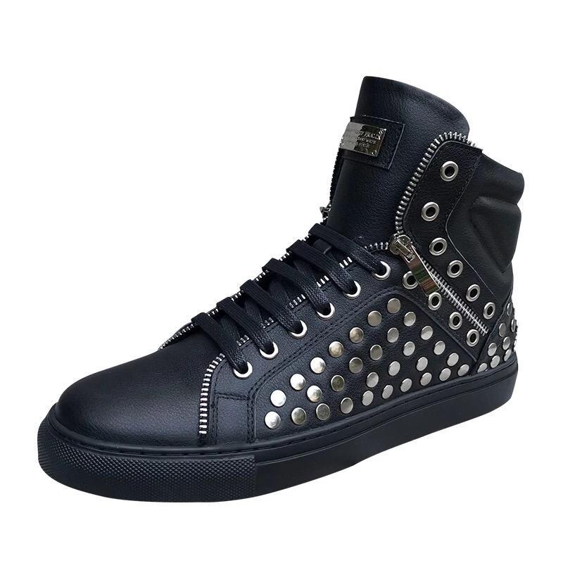 c8125835f 2019 Trend Men Designer Shoes Autumn And Winter New White High Shoes  Leather Trend Hip Hop Rivet Zipper Gaobang Mens Designer Shoes Dress Shoes  For Men ...