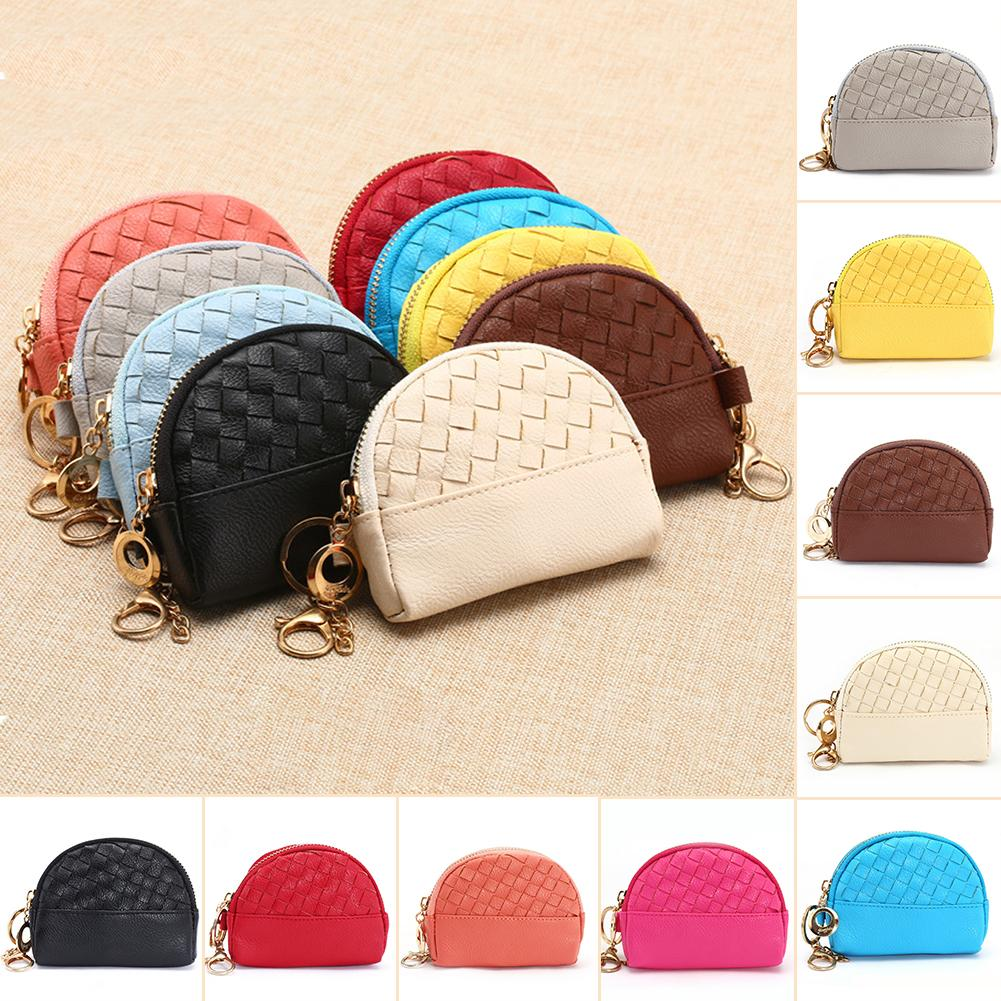 5a231fe79a0d new Mini candy color braid wallet coin purse zipper women kids girls small  clutch bag change wallet with snap ring