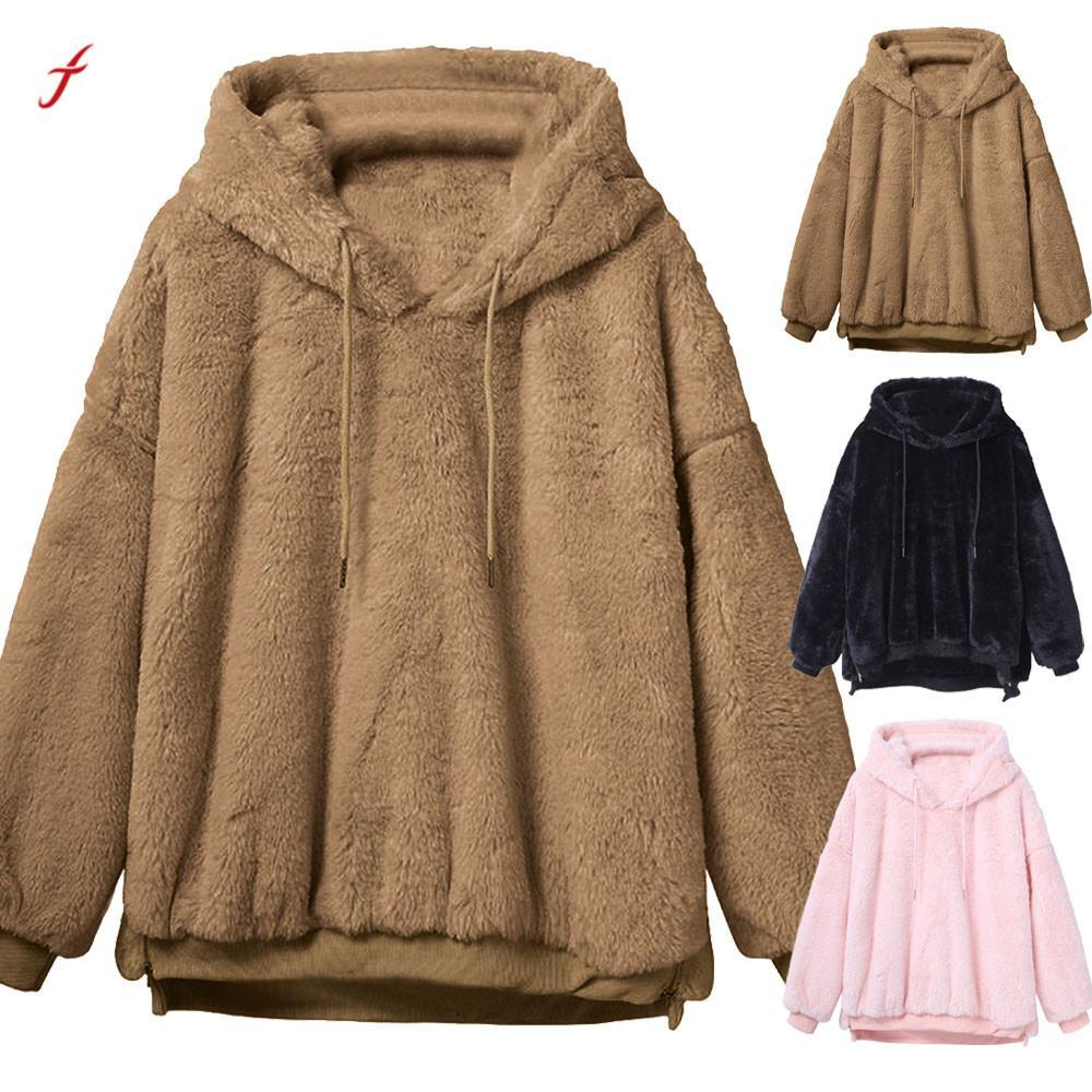 90ec99a2c275 2019 Feitong 2018 Faux Fur Coats Womens Winter Warm Fluffy Coat Fleece Fur  Outerwear Hoodies Sweatshirt Solid Warm Coat For Women  PT From Ziron