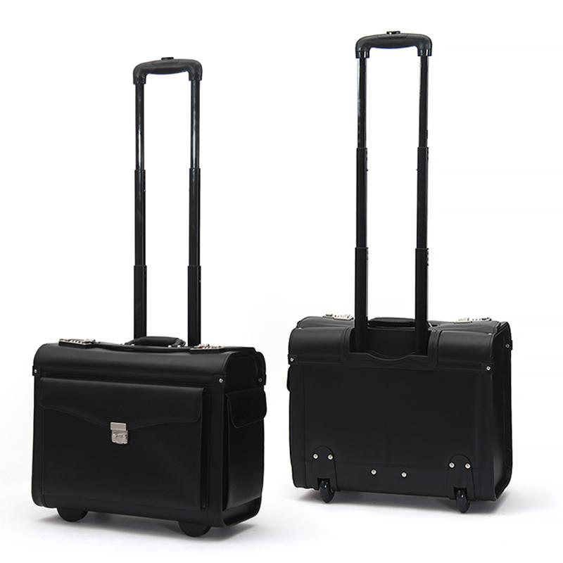 18 inch Genuine Leather Rolling Luggage Spinner Men Business Suitcase Wheels Carry on Trolley pilot Travel Bags laptop bag