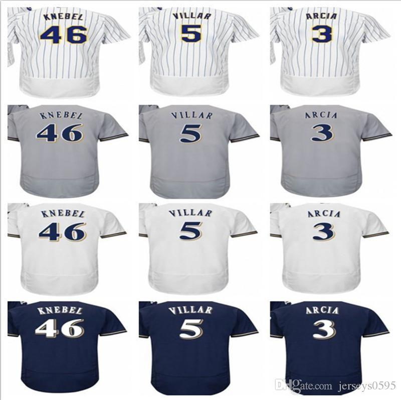 36eb1e844 2018 custom Men's women youth Milwaukee Brewers Jersey #46 Corey Knebel 5  Jonathan Villar 3 Orlando Arcia home blue kids Baseball Jerse