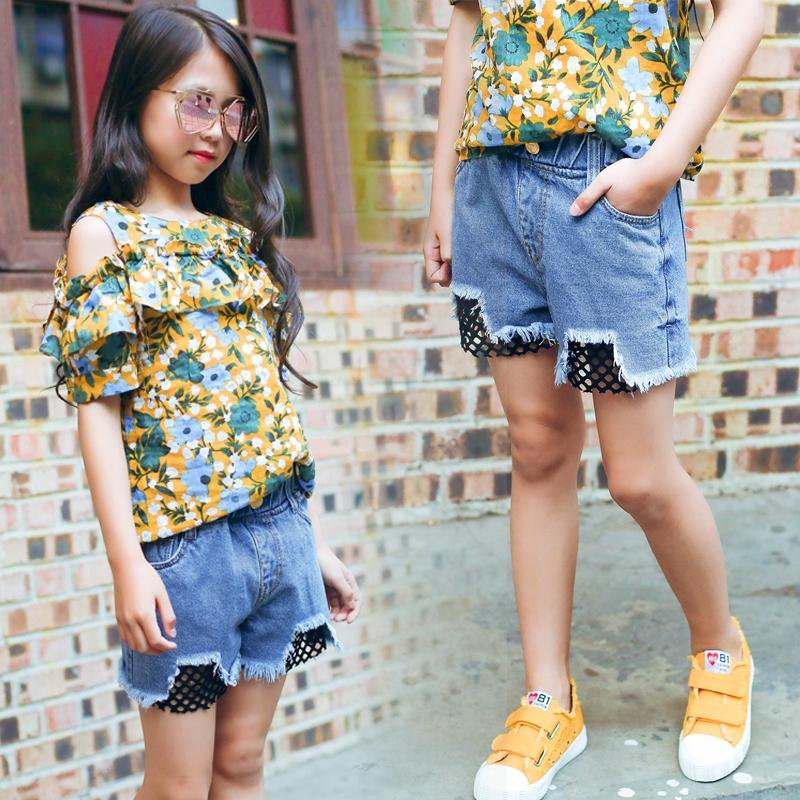 671ba057f Girls Shorts Summer Korean Wild Thin Section Hot Pants Children's Pants  Girls Summer Jeans