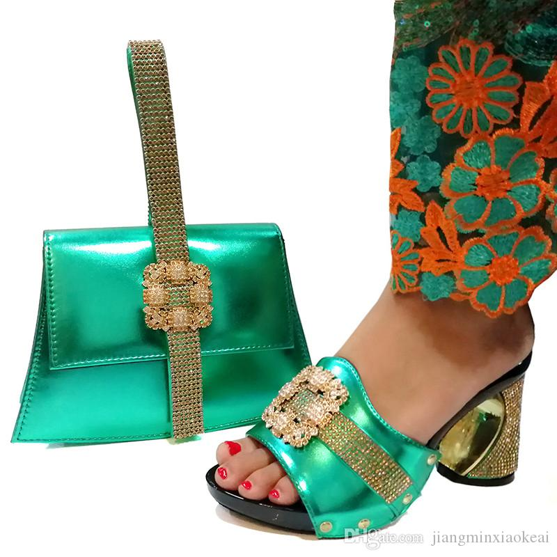Italian Ladies Shoes and Bag To Match Set Party Shoe Green color New Arrival Italian Shoes with Matching Bags Set Decorated with Rhinestone