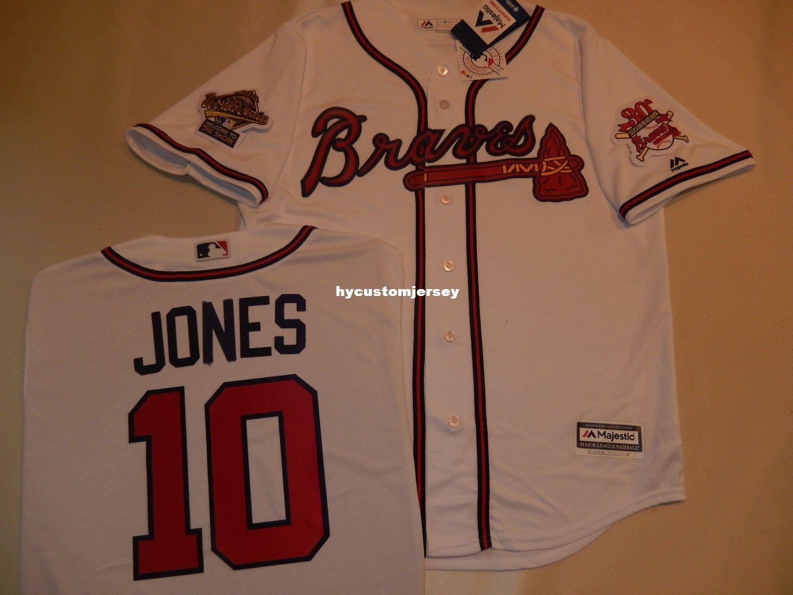 cheap for discount bd68a fbb42 Cheap custom 1995 Atlanta #10 CHIPPER JONES World Series Baseball JERSEY  New WHT Mens stitched jerseys Big And Tall SIZE XS-6XL For sale